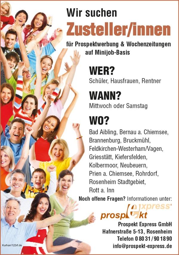 Zusteller (m/w/d) ab sofort im Landkreis Rosenheim!