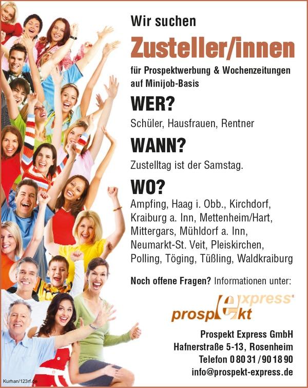 Zusteller (m/w/d) ab sofort im Landkreis Mühldorf!