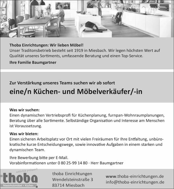 Küchen- und Möbelverkäufer (m/w/d) ab sofort!