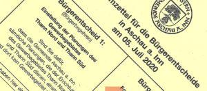 """Rats- und Bürgerbegehren zum """"Gewerbegebiet Thann Nord und Süd"""": Stimmberechtigte sollten Briefwahl nutzen"""