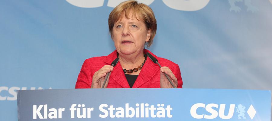 Besuchte Südostoberbayern zuletzt im Bundestagswahlkampf 2017: Bundeskanzlerin Dr. Angela Merkel (CDU) beim CSU-Wahlkampfauftritt in Rosenheim Stadt. Foto: Olaf Konstantin Krueger
