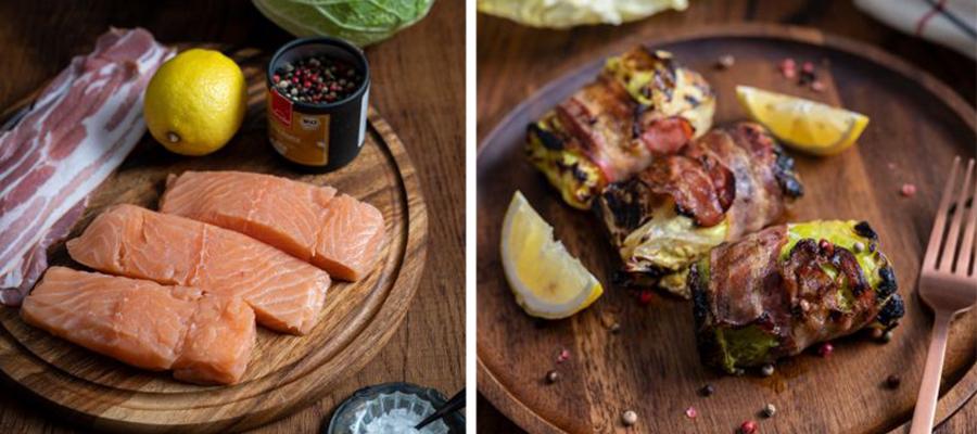 Kohl trifft auf Fisch und Fleisch: Wirsing-Lachs-Päckchen mit Bacon